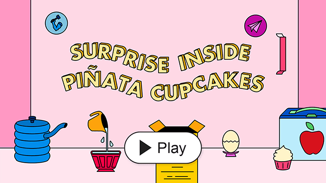 Surprise Inside Pinata Cupcakes