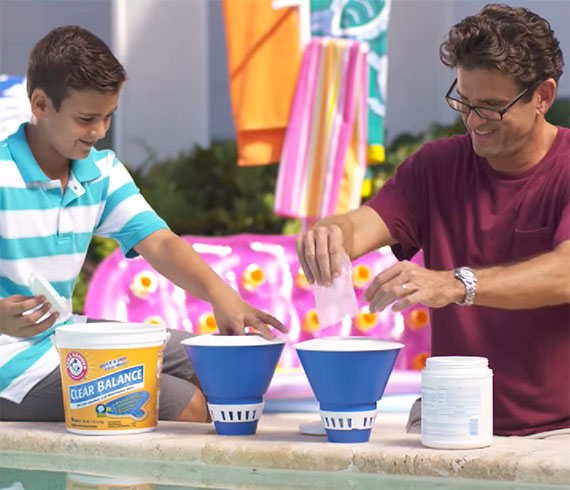 Keep your Pool Crystal Clear with ARM & HAMMER™ Clear Balance™ Pool Maintenance Tablets