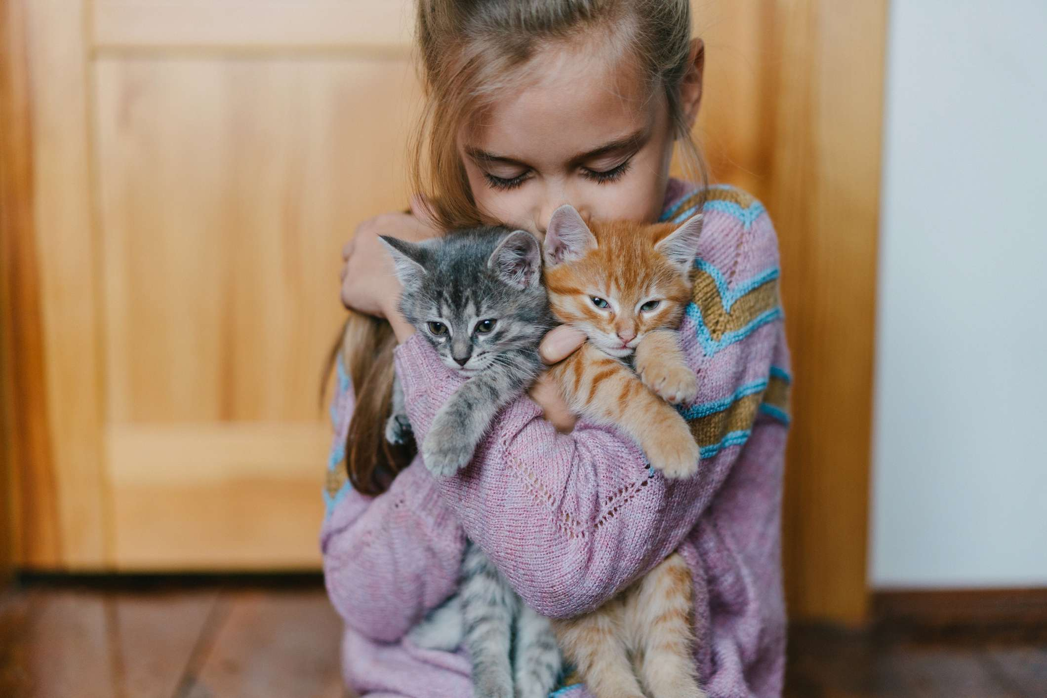 Little girl bonding with kitten