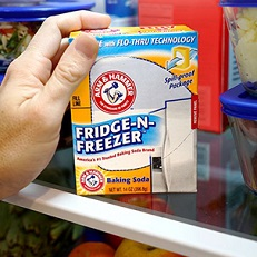 How to freshen a refrigerator or freezer with baking soda.