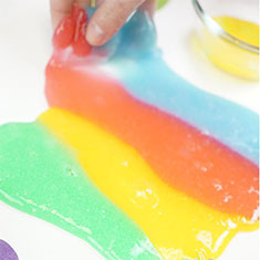 How to make tie dye slime with baking soda.
