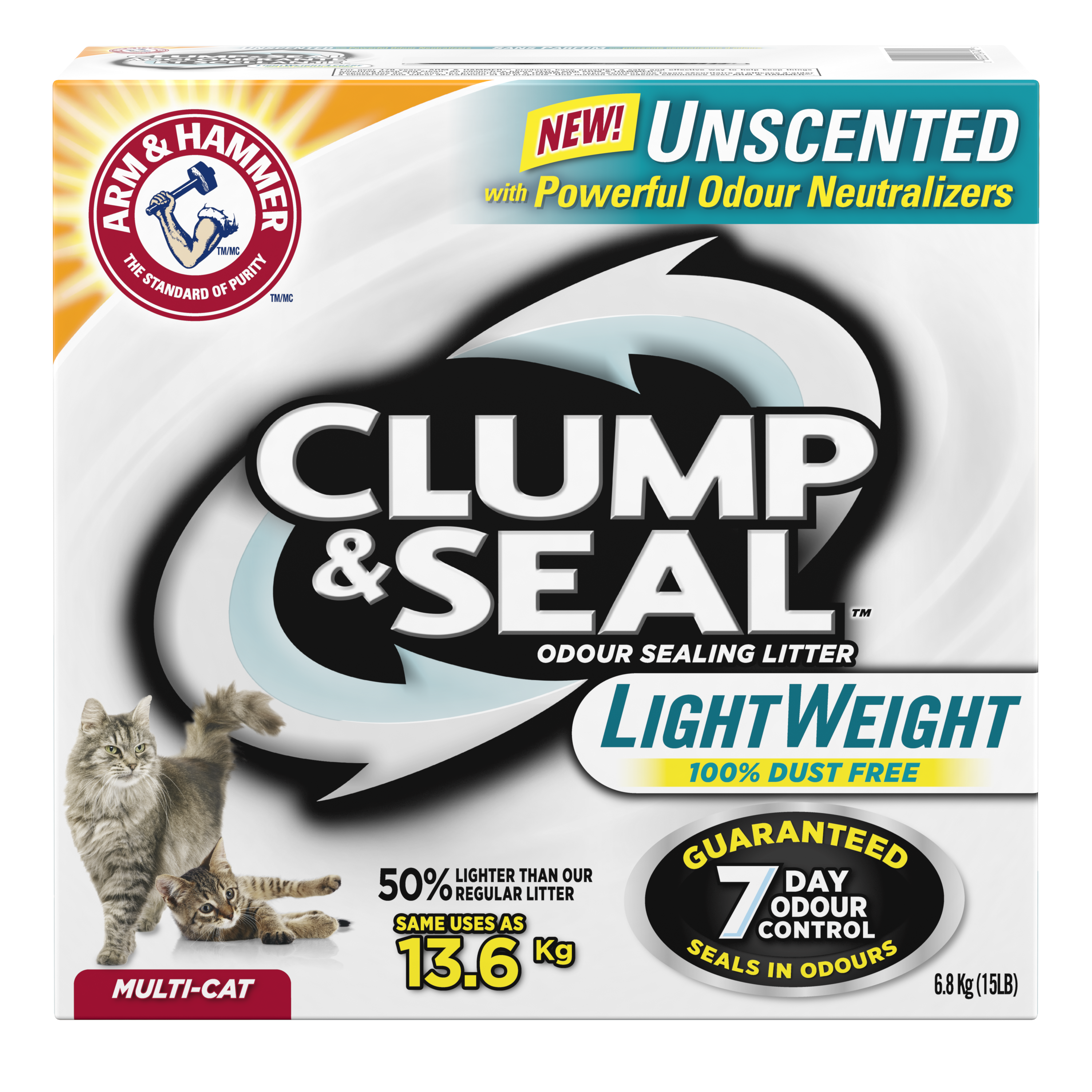 Clump & Seal™ Lightweight Odour Sealing Clumping Litter, Unscented